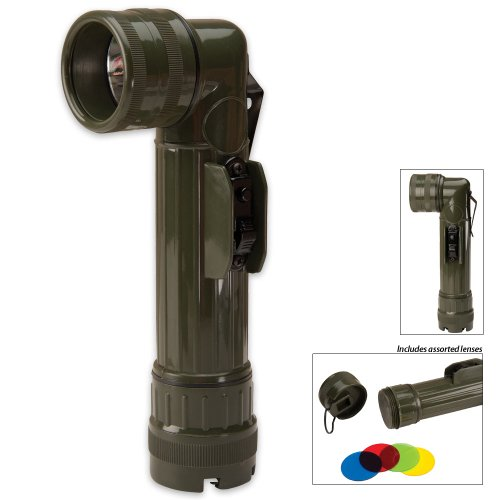Olive Drab Military GI Style C-Cell Anglehead Flashlight by Fury