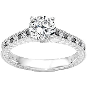 Promise Ring Set with Black And White Diamonds mounted in Sterling Silver (3.7 ct. twt.)