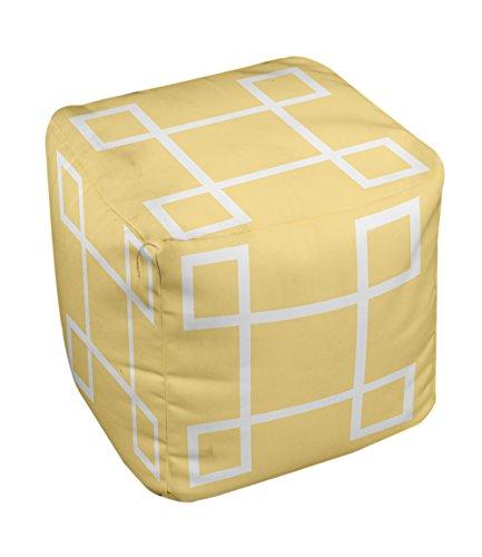 E by design Geometric Pouf, 13-Inch, 1Lemon - 1