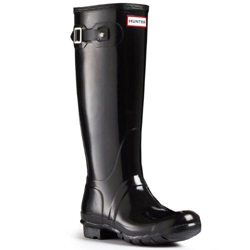 Hunter Womens Original Gloss Black Rain Boot - 6 (Hunter Rain Boots Ladies compare prices)