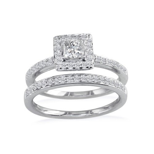 1/2ct Pave Princess Diamond Bridal Set in 14k White Gold (GH SI3 Size 4-9)