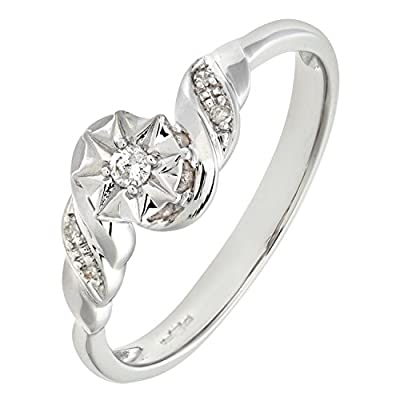 Ariel Ladies 9ct White Gold Diamond Accent Ring