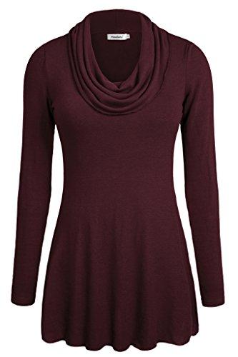 ninedaily-women-tops-long-sleeve-cowl-neck-tunic-blouse-wine-l