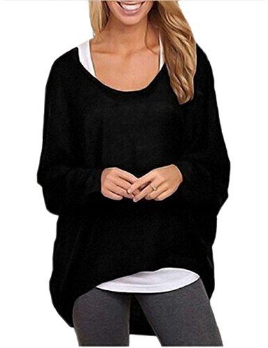 Ninimour Donna Maglia a Manica Lunga Cardigan Asimmetrico Camicia Pullover Camicetta Superiore (Medium, Nero)