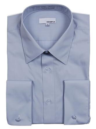 Mens Modena Solid Light Blue French Cuff Dress Shirt - Size 14.5 32/33