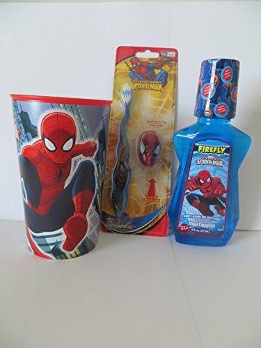 Spiderman bath set 3 pieces red plastic bpa free cup for Spiderman bathroom ideas