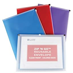 C-Line Assorted Zip \'N Go Expanding Portfolio - 9/PK Assorted Colors