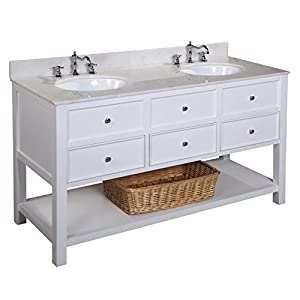 Kitchen Bath Collection KBCD60WTWT New Yorker Double Sink Bathroom Vanity Wit