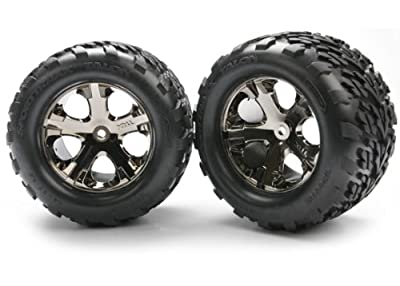 "Traxxas 3668A Talon 2.8"" Tires Assembled on All-Star Black-Chrome Wheels"