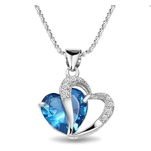 Swarovski Element blue   white   amethyst  heart sterling silver pendant necklaces , for woman  girl (supply in...