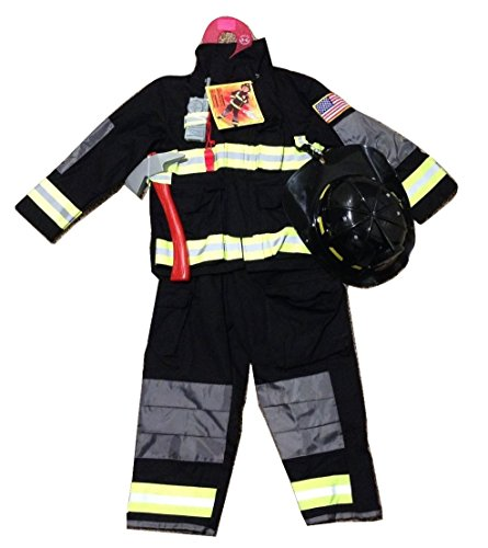 Teetot Authentic Boys Fireman Halloween Costume Firefighter Size 3-4 Black
