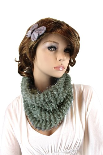 Fashion Dimensions Infinity Neck Scarf In Grey With Matching Bow Clip
