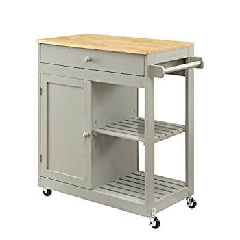 Oliver and Smith - Nashville Collection - Mobile Kitchen Island Cart on Wheels - Wooden Grey - Natural Oak Butcher Block - 30