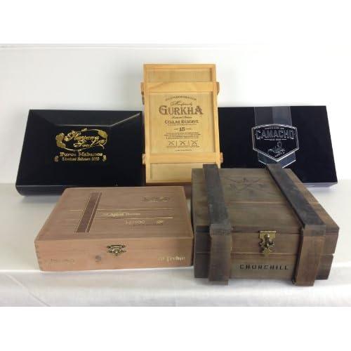 Premium Wooden Empty Cigar Boxes (5 Pack)