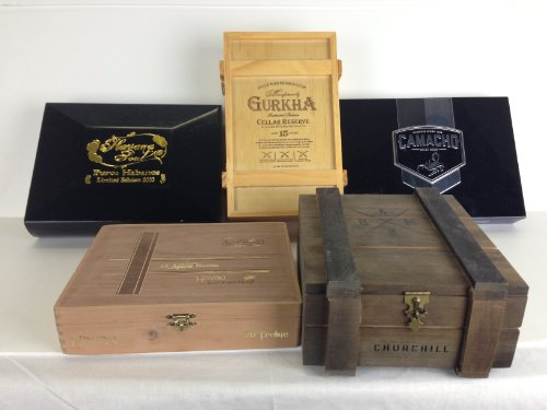 Premium Wooden Empty Cigar Boxes (5 Pack) 0