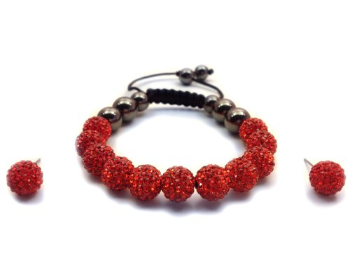 11-Ball Red Bead Shamballa Bracelet with no strings + Red Earring Pair
