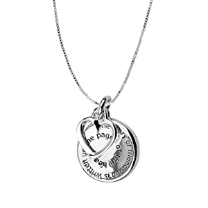 "Sterling Silver ""The Story of Friendship is Written on the Pages of the Heart"" and ""I am a Better Me Because of You"" Reversible Two-Charm Pendant, 18"""