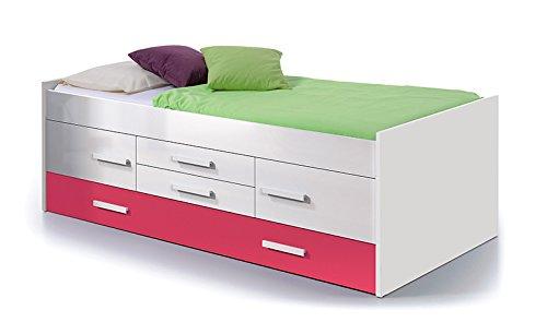 Dormitorio juvenil en color blanco y frentes magenta for Dormitorios juveniles en amazon