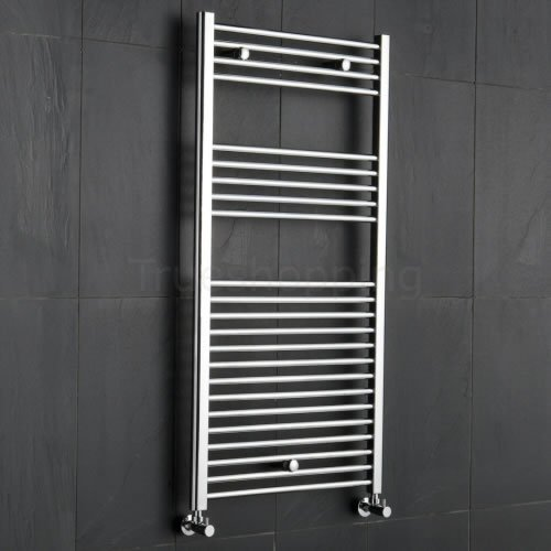 Kudox Premium Chrome Flat Heated Bathroom Towel Radiator Rail 600mm x 1200mm