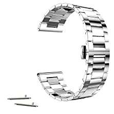buy 20Mm Stainless Steel Butterfly Buckle Link Watch Band For Pebble Time Round 20Mm 2015, Moto 360 2Nd 42Mm, Samsung Gear S2 Classic Sm-R7320 (Yesoo Retail Packaging - 180 Days Warranty) (Link Silver)