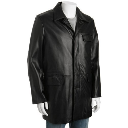 Buy Cole Haan black leather convertible collar car coat