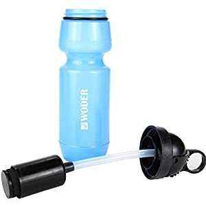 Woder® Survival Water Filter Bottle w High Performance Ionic Filtration System - 100Gal Cartridge Capacily - Made in USA - 24oz. BPA Free Bottle w Flip-Top Lid and Sipping Straw - EPA Approved in Accordance w ANSI / NSF - Filters Toxic chemicals, Heavy Me