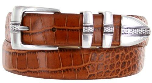 Brandon Italian Calfskin Leather Designer Dress Golf Belt for Men (38, Alligator Tan)