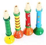 Ularma Lindo 1pcs cuerno madera multicolor Sirena trompeta instrumentos musicales juguetes para bebé
