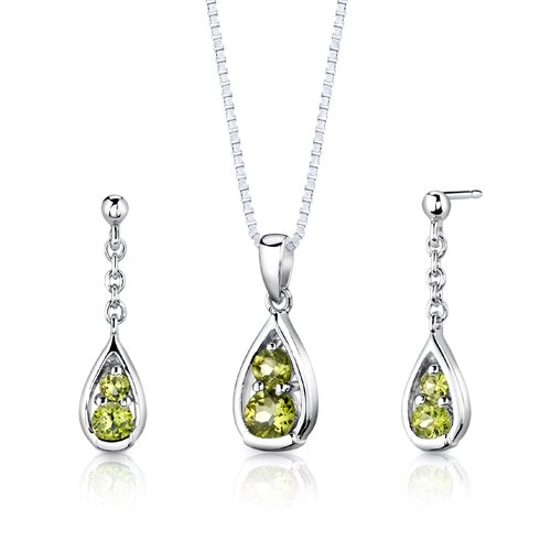 Sterling Silver 1.50 carats total weight Round Shape Peridot Pendant Earrings and 18 inch Necklace Set