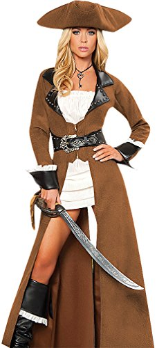 Q-Lingerie, Women's Top Quality Pirate Costume Lace Dress Studded Coat CS92