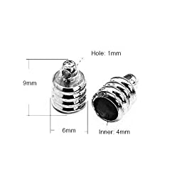Pack Of 30 x Black Plated Brass 6 x 9mm Kumihimo Ribbed End Caps - (HA03330) - Charming Beads