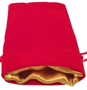 "Luxury Velvet Dice Bags with Satin Lining: 4""x6"" Red Velvet Dice Bag with Gold Satin Lining - 1"