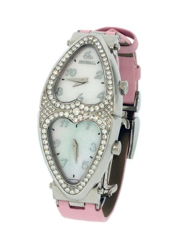 Jacob & Co. Ladies Swiss Pink Heart To Heart Two Time Zone Diamond Watch 1.48Ct