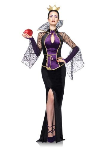 Leg Avenue Disney 3Pc.Evil Queen Includes Dress Belt and Crown Head Piece, Black, Large