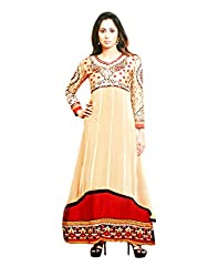 Zerel Baige n Red Layered Anarkal with Fine Embroidery Work, Semi Stitched Salwar Suit