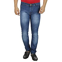 Mens Jeans Offer Low Price Deal Slim Fit Regular Waist (Blue With Glow, 36)