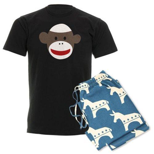 CafePress Sock Monkey Face Men's Dark Pajamas Men's Dark Pajamas