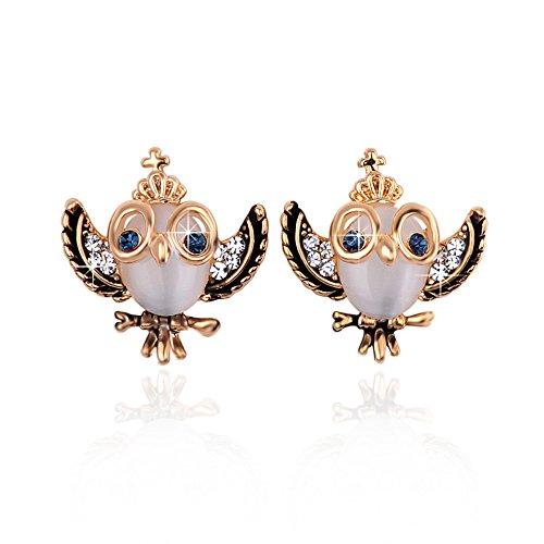 findout signore dell'elemento di swarovski orecchini di cristallo opalino gufo, per le donne ragazze (f1613)