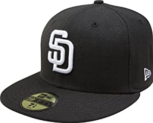 MLB San Diego Padres Black with White 59FIFTY Fitted Cap by New Era