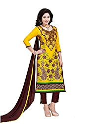 PShopee Yellow & Brown Cotton Embroidery Unstitched Karachi Suit Dress Material