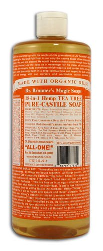 Dr Bronner Hemp Tea Tree Pure Castile Soap Org