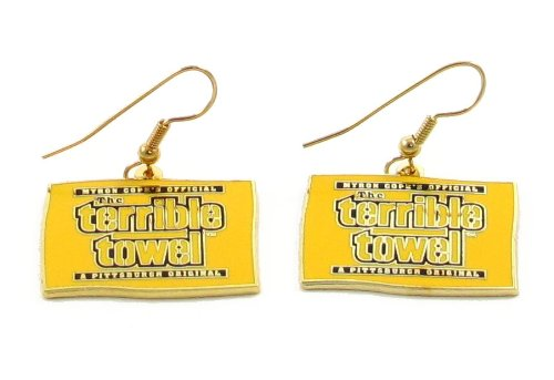 Pittsburgh Steelers Official Terrible Towel Dangle Earrings - NFL from SteelerMania