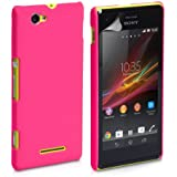 Generic Rubberised Hard Case Back Cover for SONY XPERIA M - PINK