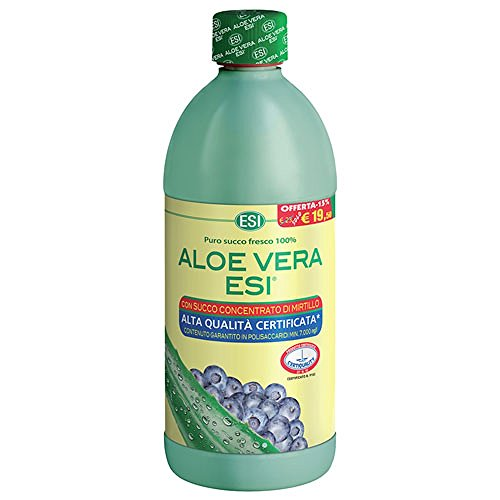 ESI Aloe Vera 1000 ml Succo Puro Fresco 100% + Concentrato Mirtillo