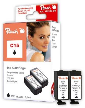 Peach C15 bk Doppelpack Tintenpatronen kompatibel zu Canon BCI-15 bk, schwarz