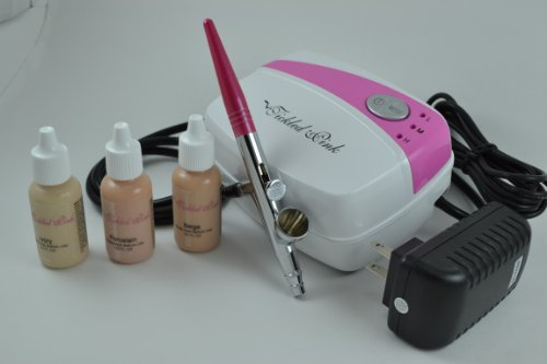 Tickled Pink AirbrushTM Makeup Compressor Kit with Light Shades Foundation Makeup