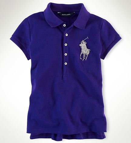 Ralph Lauren Sparkling Beaded Big Pony Polo Girl's Shirt Estate Purple Size M 8/10
