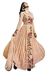 SK Creation Designer Light Pink Embroidered Semi Stitched Gown Style Floor Length Anarkali Suit