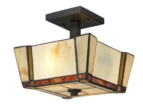 Dale Tiffany Th12457 Paragon Semi Flush Mount Light Fixture, Dark Bronze