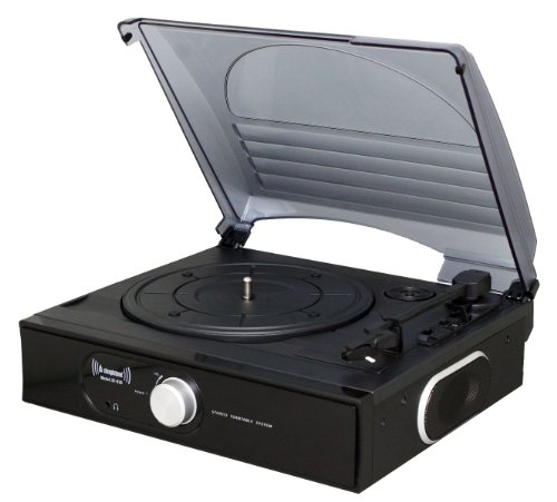 Steepletone ST938 3 Speed Stand Alone Record Player with Flip Over Stylus - Black